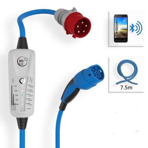 Cargador VE 32A 7.5m 22kW, tipo 2 y 32A, Bluetooth