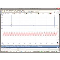 Osciloscopio PC 4 canales conectado a PC.